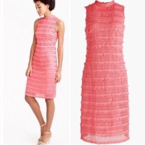 J. Crew Fringy Lace Sheath Dress Coral Size 10